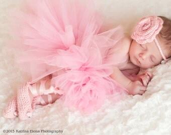 Baby Ballerina Set/ Newborn Ballerina/ Baby Dancer/ Dancer Newborn Prop/ Ballet Slippers and Rose Headband