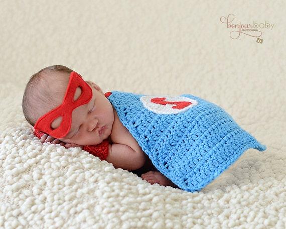 Free Crochet Pattern Baby Capelet : Newborn Superhero Set/ Crochet Newborn Cape/ by WillowsGarden