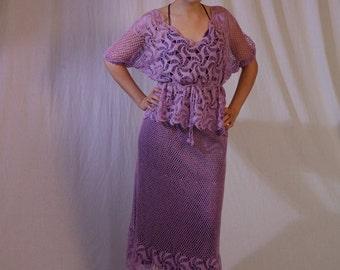 Women's Vintage Crochet Dress Two Piece Top Skirt Set in Lilac Purple, S-M