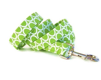 Lime Green Dog Leash - Circles on Lime - 6 Foot Length