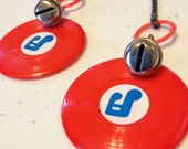 80s MUSIC EARRINGS, dangly with Vintage plastic records, a BELL and chain