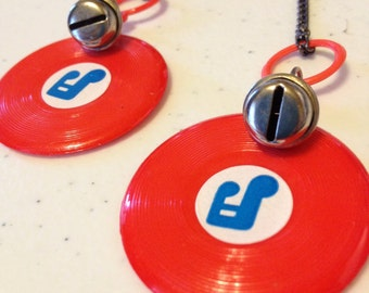 Vintage Plastic Earrings, Plastic Vinyl Records with a bell