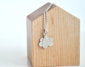 Raindrop & Cloud Necklace in Sterling Silver - Rainy Day Mini Pendants