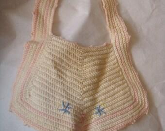 Vintage Baby or Doll Bib Crochet Pink Blue