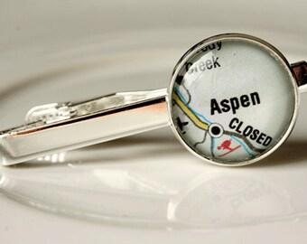 Aspen Colorado, Aspen Colorado Tie Clip,  Accessories, Men, Sterling Silver Tie Clip, Colorado Gifts, Skier, Map Tie Clip, Gifts for Him