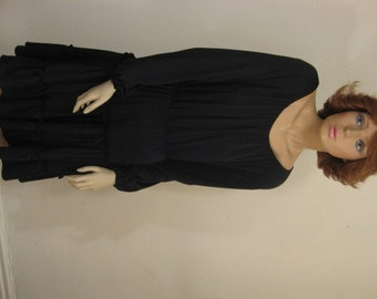 70s Boho Black Poly Peasant Day Dress