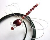Red Dragonfly Bouquet Decoration -  Red Biwa Pearl and Garnet  Sterling Silver - Dragonfly Jewelry -Tagt Team