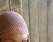 Linen Hat, Crochet Beanie - Pastel Pink, Slightly Slouchy - Minimal Unisex Spring, Summer Hat Beach Fashion Accessories