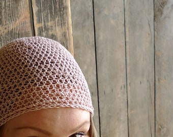 Linen Hat, Crochet Beanie - Pastel Pink Beanie - Minimal Unisex Summer Hat - Natural Beanie - Beachwear Beach Fashion Accessories