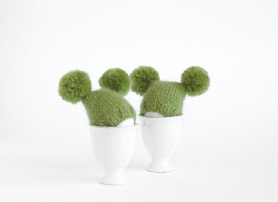 SALE 10% OFF Green egg warmers with funny poms
