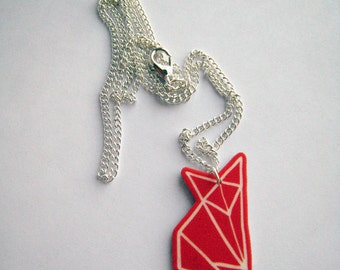 Red Fox Origami Pendant Necklace