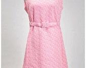 Pink Vintage Dress, Bridesmaid Dress, 1970s, Pink, Sleeveless, Belted Dress, White Bubbles, Medium, Retro, Summer Wedding, Mad Men Style