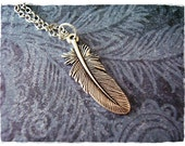 Silver Bird Feather Necklace - Antique Pewter Bird Feather Charm on a Delicate Silver Plated Cable Chain or Charm Only