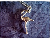 Silver Flamingo Necklace - Sterling Silver Flamingo Charm on a Delicate Sterling Silver Cable Chain or Charm Only