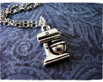 Silver Kitchen Mixer Necklace - Antique Pewter Kitchen Mixer Charm on a Delicate Silver Plated Cable Chain or Charm Only