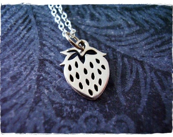 Silver Strawberry Necklace - Sterling Silver Strawberry Charm on a Delicate 18 Inch Sterling Silver Cable Chain