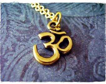 Gold Om Symbol Necklace - Antique Brass Pewter Om Charm on an Gold Plated Cable Chain or Charm Only