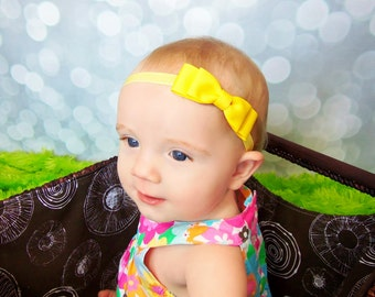 Yellow Bow Headband. Yellow Baby Headband. Baby Hair Accessories. Girls Hair Accessories. Yellow Baby Bow Headband. Baby Bows. Baby Headband