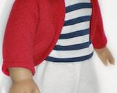 SHORT RED SHRUG Cardigan 18 inch doll clothes
