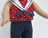 SLEEVELESS CROPPED TOP (Red & White Polka Dot) Sailor Collar** 18 inch doll clothes
