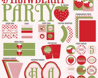 Strawberry Party PRINTABLE DIY Full Birthday Collection by Love The Day
