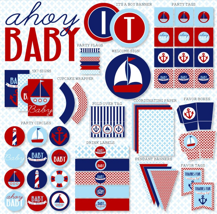 Ahoy Nautical Baby Shower Party PRINTABLES INSTANT DOWNLOAD