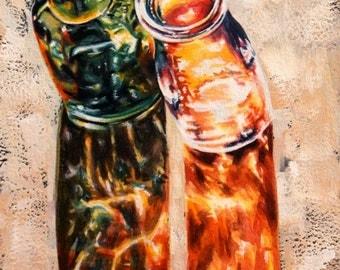 sunlit glass bottles watercolor painting original fine art illuminated sunlight colorful wall art