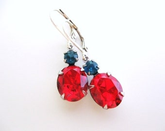 Red and Teal Earrings - Ruby and Aqua Blue - Swarovski Crystals in Silver  - Estate Jewelry