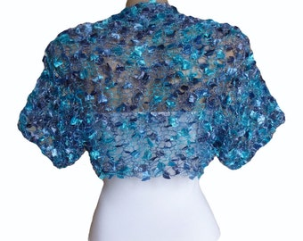 Knit navy blue turquoise Bolero Wedding Bolero, Wedding Shrug Sleeves Wrap, Different Sizes , Weddings Bridal Bridesmaid