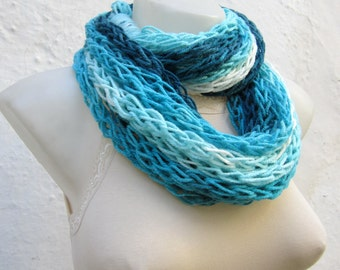 infinity scarf Finger Knitting Scarf -Blue Turquoise White-  Necklace scarf   Winter Accessories-chain loop scarf