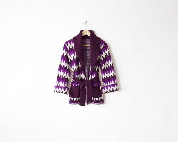 Vintage Chevron Shag Zig Zag Purple Sweater - m