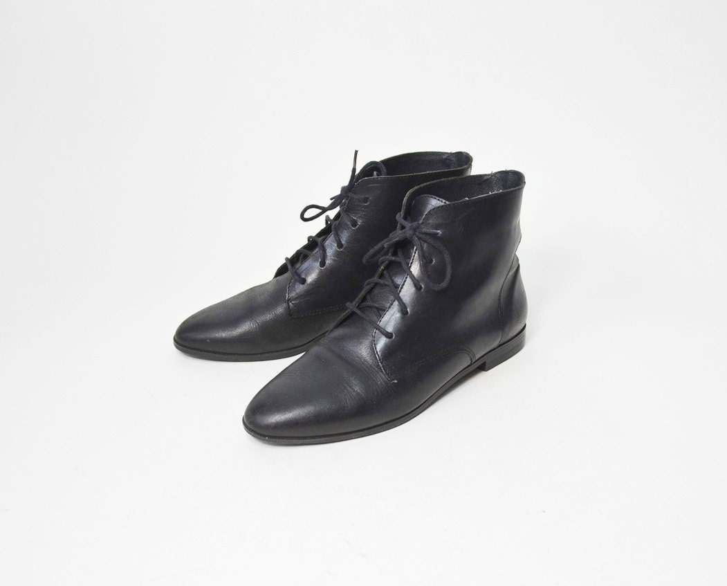 Vintage black pixie granny boots women s by twigandspokevintage