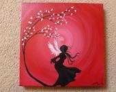Red Dancer - Original Small Abstract Fine Art Fantasy Fairy Tale Crimson Scarlet Fairy Angel 12x12 By Elizabeth Pfleeger