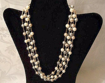 Pearl Triple Strand Necklace Gold Tone Vintage Avon 1987 Cashmere Cream Gray Champagne Round Beads Long Accent Tube Bars