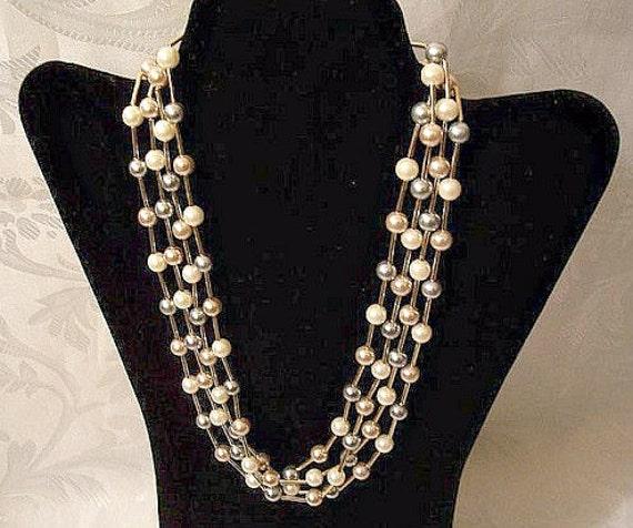 Nexus 20 Triple Bar Pendant: Pearl Triple Strand Necklace Gold Tone Vintage Avon 1987