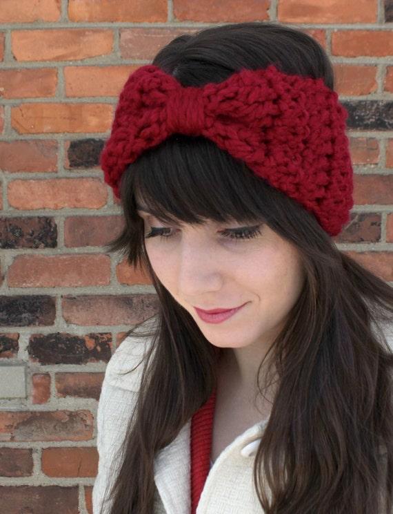 HEADBAND - EAR WARMER - Crochet Headband Bow Ear Warmer in Cranberry Red -  Knit Headband Ear Warmers - Crochet Ear Warmer Headband 50732c65d97