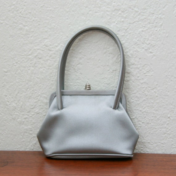 Vintage 90s Silver Satin Mini Framed Purse