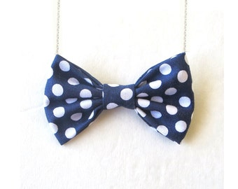 Navy Polka Dot Blue and White Dots Bowtie Women Bow Tie