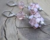 Soft Pink Earrings - Pink Swarovski Crystal Earrings - Pink Dangle Earrings - Pink Jewelry - Pink Bridesmaid Gift - Rustic Wedding Jewelry