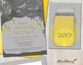 Wedding Invitation Suite: (Mason Jar, Tree, Candle, Evening, Firefly, Summer, Outdoor, Gray and Yellow) Summer In A Jar DIGITAL
