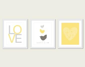Baby Nursery Art Print Set - Simple Modern Decor - Birds Art Print - Love Art Print - Heart Art Print - Yellow Grey Taupe