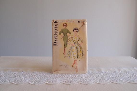 1950s dress pattern / 50s 60s Butterick 9170 sewing pattern for a Full or Slim wiggle Skirt Dress with cummerbund waist & dolman sleeves