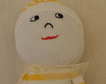 Soft Sock Doll in Sunny Yellow Stripes