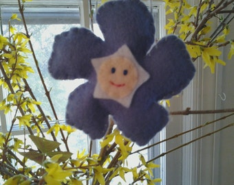 Pretty Periwinkle Felt Flower Ornament Blossom Baby Spring Decor