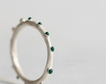 Dark Emerald Green Bubbles Ring White Sterling Band T12