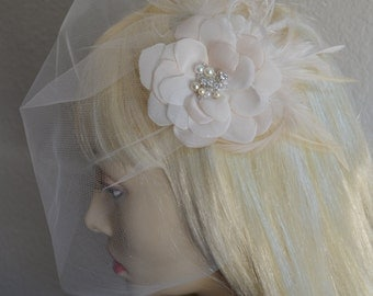 MADE TO ORDER,Hair flower and Veil, Vintage Veil and Headpiece, Tulle Mini Veil and Headpiece, Ivory,Champagne and Ivory,Flower and feathers