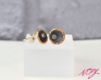 Handmade sterling silver stud earrings with 9ct rose gold plating.