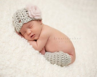 Baby Hat and Leg Warmers - Gray Baby Hat and Legwarmer Set - Newborn Photo Prop - Baby Hat and Leggings - Hat and Legwarmer Photography Prop