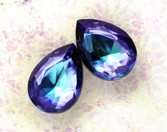 18x13mm FREAKY WEIRD Unusual Coloring Bermuda Blue/Green and Amethyst Purple Glass Pears, Foiled Backs, Quantity 2