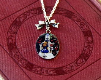 Alice in Wonderland Necklace, Painting the Roses Red, Alice in Wonderland Jewellery